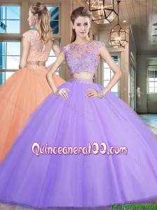 Luxurious Zipper Up Cap Sleeves Lavender Sweet 16 Dress with Beading and Appliques