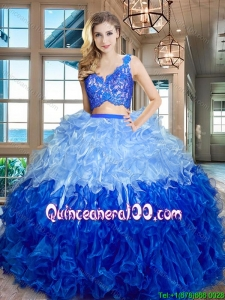 Modern V Neck Zipper Up Ruffled and Laced Bodice Quinceanera Dress in Organza