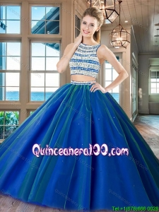Modest Big Puffy Scoop Tulle Open Back Quinceanera Dress in Royal Blue