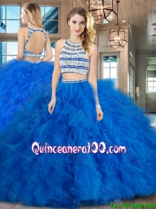 Most Popular Open Back Tulle Quinceanera Dress with Ruffles and Beading
