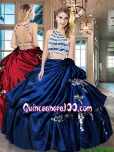 New Arrivals Scoop Beaded Bodice Taffeta Quinceanera Dress in Royal Blue
