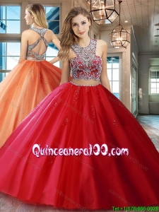 New Style Two Piece Really Puffy Beaded Scoop Red Quinceanera Dress