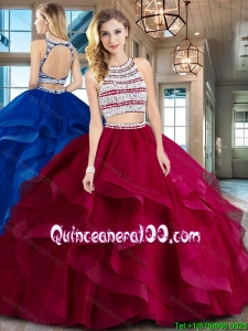 Perfect Ruffled and Beaded Wine Red Quinceanera Dress with Brush Train