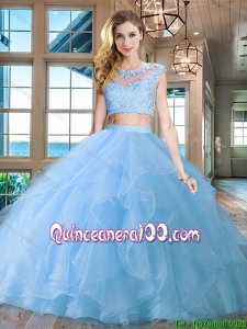 Popular Really Puffy Cap Sleeves Light Blue Quinceanera Dress with Ruffles