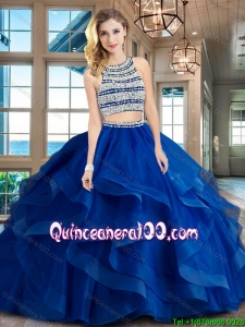 Unique Two Piece Open Back Royal Blue Quinceanera Dress with Beading