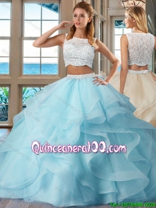 Beautiful Ball Gown Brush Train Side Zipper Light Blue Quinceanera Dresses with Bateau