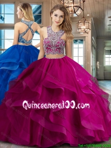 Beautiful Two Piece Brush Train Fuchsia Quinceanera Dress with Criss Cross