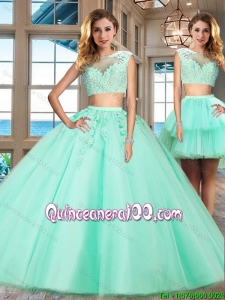 Best Selling Applique Cap Sleeves Detachable Quinceanera Dress in Apple Green