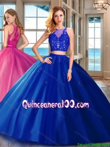 Cheap Two Piece Brush Train Applique Tulle Quinceanera Dress in Royal Blue