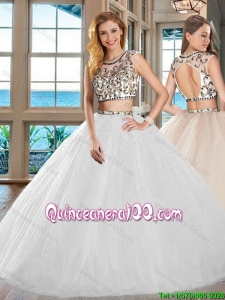 Discount Big Puffy Two Piece Tulle White Quinceanera Dress with Open Back
