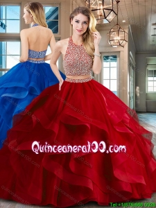 Fashionable Two Piece Beaded Decorated Halter Top Sweet 16 Dress with Brush Train