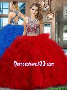 Gorgeous Brush Train Ruffled and Beaded Red Quinceanera Gown in Tulle