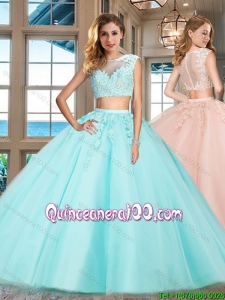 Hot Sale Zipper Up Applique Aqua Blue Quinceanera Dress with Cap Sleeves