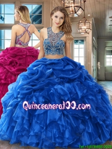 Latest Two Piece Ruffled and Bubble Organza Royal Blue Quinceanera Dress