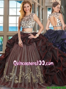 Perfect Embroideried and Bubble Burgundy Quinceanera Dress with Brush Train