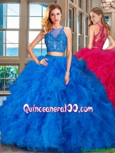 Popular Two Piece See Through Scoop Ruffled and Applique Quinceanera Dress