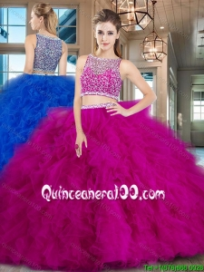 Pretty Two Piece Fuchsia Brush Train Quinceanera Dress with Ruffles and Beading