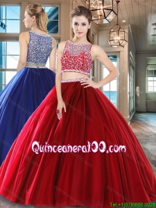 Romantic Two Piece Beaded Bodice Tulle Quinceanera Dress in Wine Red