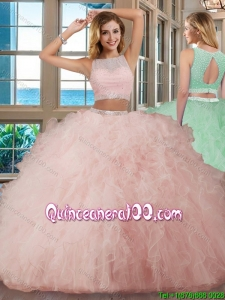 See Through Puffy Bateau Brush Train Open Back Pink Quinceanera Dresses with Sequins and Ruffles