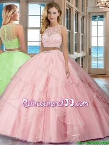 See Through Puffy Scoop Tulle Two Piece Quinceanera Dresses with Beading and Ruffles