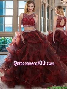 Two Piece Scoop Beaded Bodice Open Back Detachable Quinceanera Dresses in Burgundy