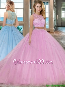 Two Piece Scoop Zipper Up Tulle Pink Quinceanera Dresses with Brush Train