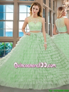 Two Piece Yellow Green Ball Gown Scoop Beaded and Ruffled Layered Zipper Up Quinceanera Dresses with Brush Train