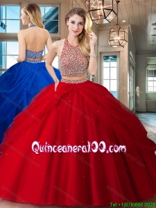 Unique Big Puffy Two Piece Backless Red Quinceanera Dress in Tulle
