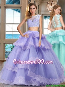 Unique Two Piece Lavender Quinceanera Dress with Lacework and Ruffled Layers