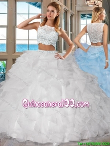 White Bateau Brush Train Side Zipper Two Piece Quinceanera Dresses with Beading