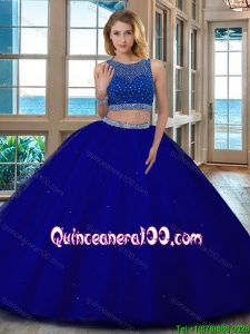 Wine Red Puffy Scoop Beaded Bodice Open Back Tulle Two Piece Quinceanera Dresses