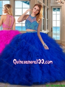 See Through Puffy High Neck Brush Train Two Piece Royal Blue Quinceanera Dresses