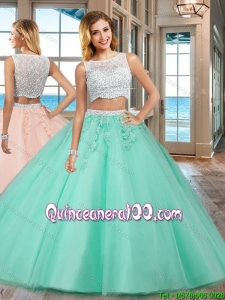Two Piece Puffy Bateau Brush Train Side Zipper Apple Green Quinceanera Dresses with Beading and Appliques