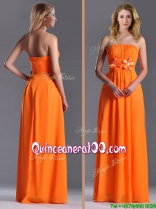 2016 Empire Strapless Ruching Chiffon Long Dama Dress in Orange