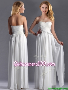 Exquisite Empire Sweetheart Ruched White Long Dama Dress in Chiffon