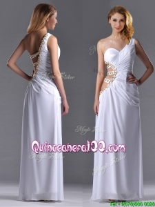 Beautiful Cut Out Waist One Shoulder White Dama Dress with Beading