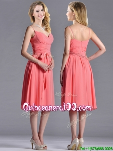 Best Spaghetti Straps Watermelon Dama Dress with Ruching and Bowknot