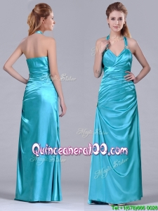 Column Halter Top Elastic Woven Satin Aqua Blue Dama Dress with Ruching