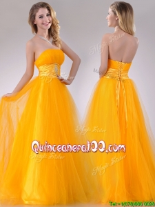 Elegant A Line Beaded Tulle Gold Dama Dress with Lace Up