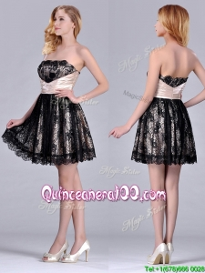 Modern Strapless Black Short Dama Dress with Lace and Belt