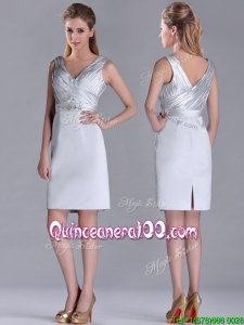 Modern V Neck Belted with Beading Dama Dress in Silver