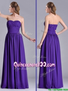 Beautiful Empire Ruched Chiffon Long Dama Dress in Purple