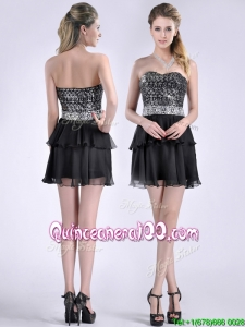 Cheap Sweetheart Black Short Dama Dress in Sequins and Chiffon