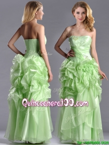 Classical Beaded and Bubble Organza Dama Dress in Yellow Green