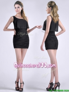Exquisite Column Scoop Black Dama Dress with Appliques and Ruching