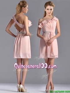 Latest Beaded and Ruffled Pink Dama Dress with Criss Cross