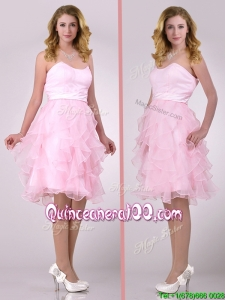 Lovely Empire Baby Pink Knee Length Dama Dress with Ruffles