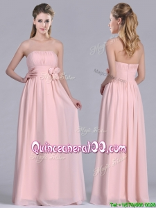 Modern Chiffon Handcrafted Flowers Long Dama Dress in Baby Pink