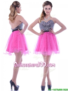Modern Sequined Decorated Bodice Organza Hot Pink Dama Dress with Backless