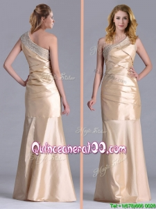 New Column Beaded Decorated One Shoulder Dama Dress in Champagne